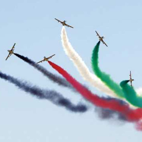 Photo: UAE Flag in Russian Skies