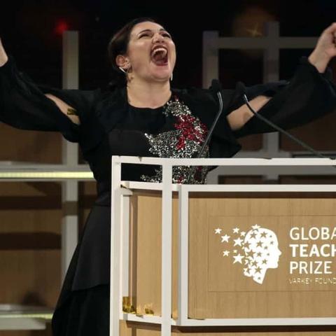 """Photo: """"Andria Zafirakou"""" Best teacher in the world 2018"""