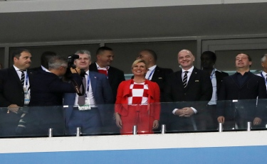 Image: The Croatian president stole the spotlight from the players in Croatia's win against Russia!