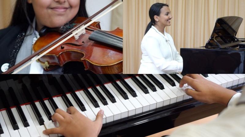 صور: موهبتان سعوديتان تبدعان العزف في دبي