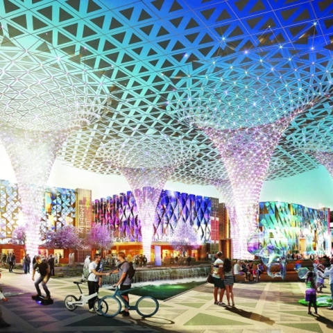 """صور: """"إكسبو 2020 دبي"""" يكتسي بالأخضر"""