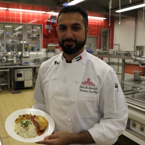 Photo: Saud Al Matrooshi... The first Emirati chef in the world's largest flight catering kitchen
