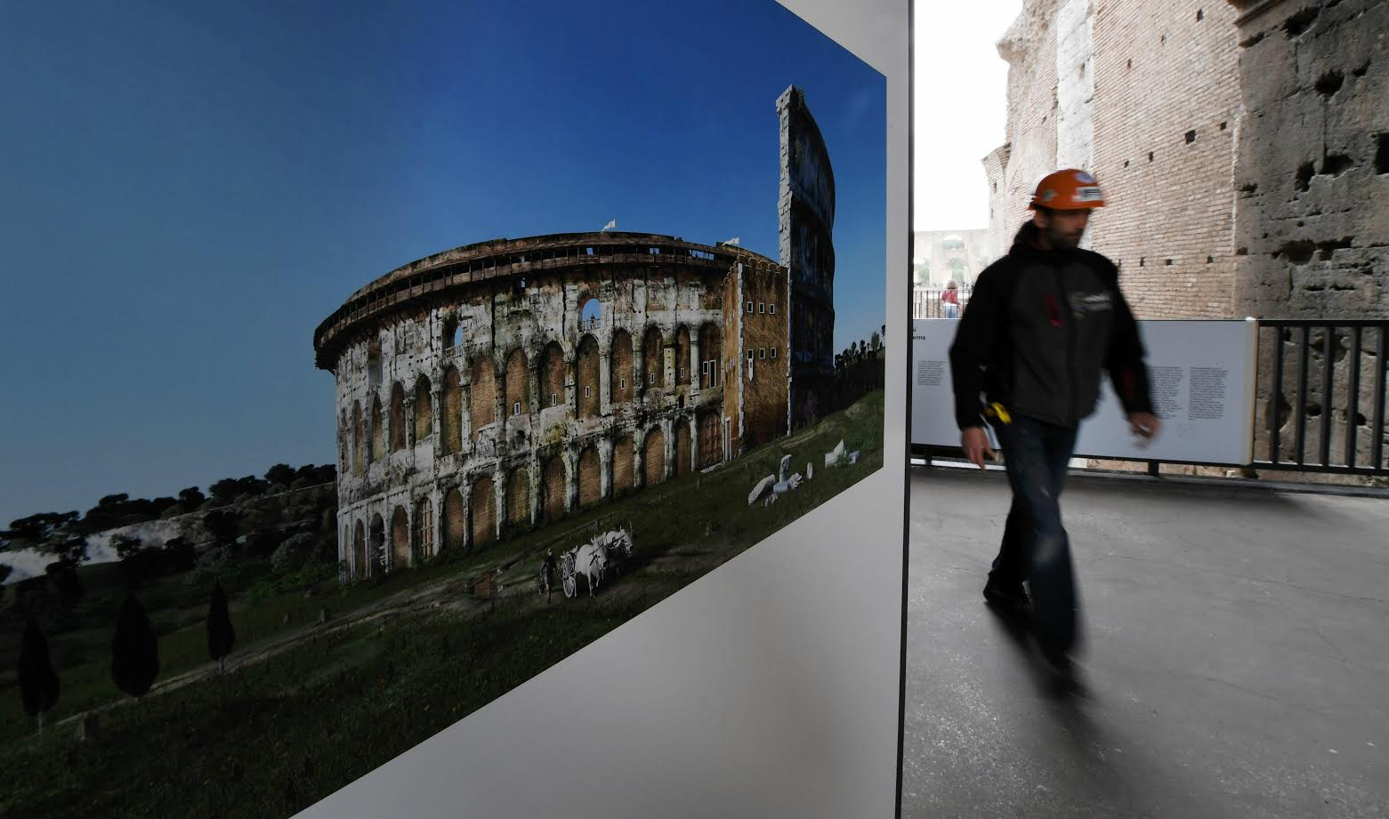 """""""The Colosseum: an icon,"""" which opens on an middle floor of the amphitheatre on March 8, 2017 and runs till January, 2018, is designed to show that life inside the iconic structure did not end with the disintegration of the empire or the final show of the classical era, in 523 AD. (AFP)"""