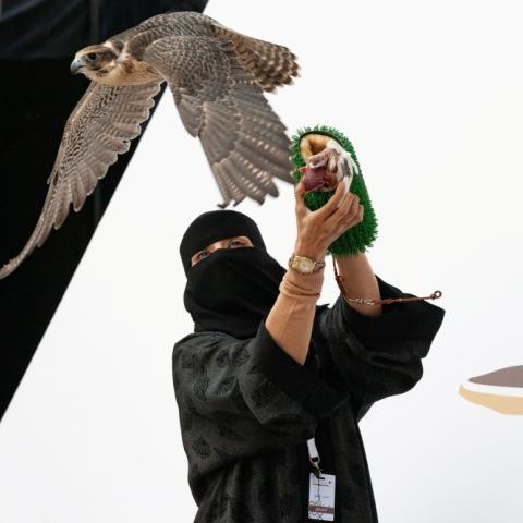 """صور: """"عذاري الخالدي"""".. أول امرأة سعودية تتأهل للمشاركة في مهرجان الملك عبد العزيز للصقور"""