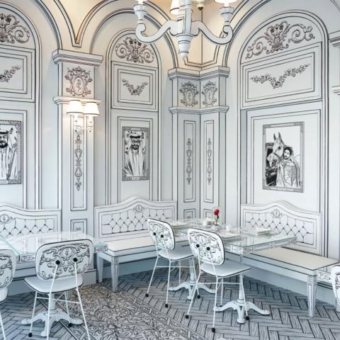 """صور: مقهى """"فور ايفر روز"""" في دبي، جولة في مطعم ثلاثي الأبعاد"""