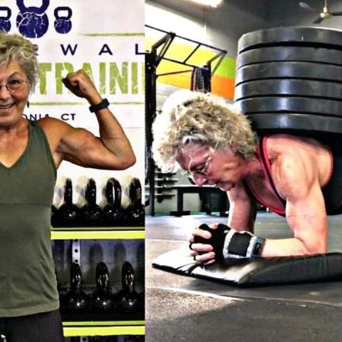 """صور: !الجدة الخارقة """"ميري دافي"""".. مسنّة تتحدى عمرها وتصبح بطلة دولية في رفع الأثقال بعمر الـ71 عاماً"""